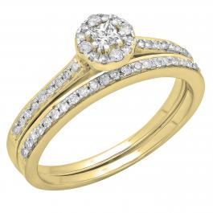 0.40 Carat (ctw) 14K Yellow Gold Princess & Round Cut Diamond Ladies Bridal Halo Style Engagement Ring With Matching Band Set