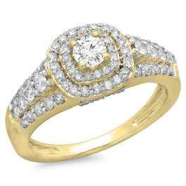 1.00 Carat (ctw) 10K Yellow Gold Round Cut Diamond Ladies Vintage Style Bridal Halo Engagement Ring 1 CT