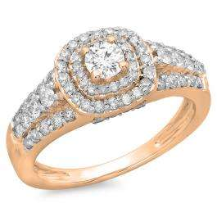1.00 Carat (ctw) 14K Rose Gold Round Cut Diamond Ladies Vintage Style Bridal Halo Engagement Ring 1 CT