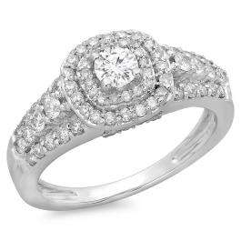 1.00 Carat (ctw) 18K White Gold Round Cut Diamond Ladies Vintage Style Bridal Halo Engagement Ring 1 CT