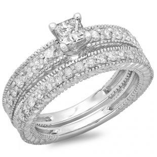 1.10 Carat (ctw) 10K White Gold Princess & Round Cut Diamond Ladies Vintage Bridal Engagement Ring With Matching Band Set 1 CT