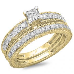 1.10 Carat (ctw) 10K Yellow Gold Princess & Round Cut Diamond Ladies Vintage Bridal Engagement Ring With Matching Band Set 1 CT