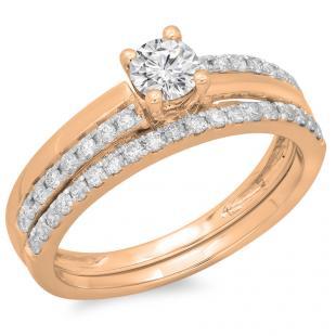 0.75 Carat (ctw) 18K Rose Gold Round Cut Diamond Ladies Bridal Engagement Ring With Matching Band Set 3/4 CT