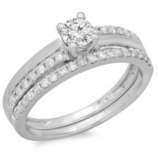 0.75 Carat (ctw) 18K White Gold Round Cut Diamond Ladies Bridal Engagement Ring With Matching Band Set 3/4 CT