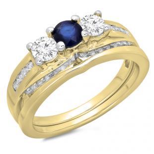 1.10 Carat (ctw) 14K Yellow Gold Round Blue Sapphire & White Diamond Ladies Bridal 3 Stone Engagement Ring With Matching Band Set 1 CT