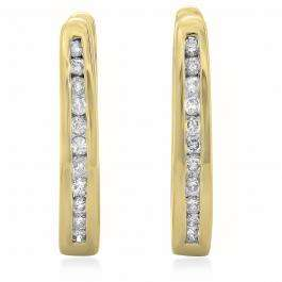 0.25 Carat (ctw) 14K Yellow Gold Round Cut Diamond Ladies Hoop Earrings 1/4 CT