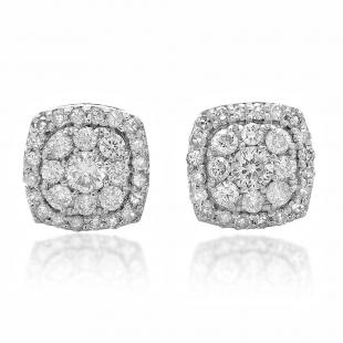 0.50 Carat (ctw) 14K White Gold Real Round Cut White Diamond Ladies Cluster Stud Earrings 1/2 CT