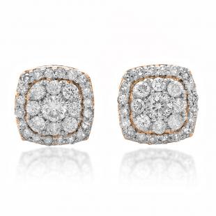 0.50 Carat (ctw) 18K Rose Gold Real Round Cut White Diamond Ladies Cluster Stud Earrings 1/2 CT