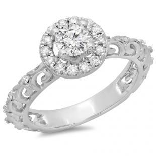 0.80 Carat (ctw) 18K White Gold Round Cut Diamond Ladies Bridal Vintage Halo Style Engagement Ring 3/4 CT