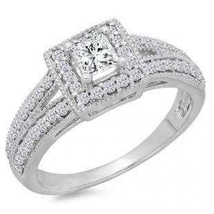 0.80 Carat (ctw) 10K White Gold Princess & Round Cut Diamond Ladies Split Shank Bridal Halo Engagement Ring 3/4 CT