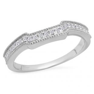 0.25 Carat (Ctw) 14K White Gold Round White Diamond Ladies Anniversary Wedding Stackable Band Guard Ring 1/4 CT