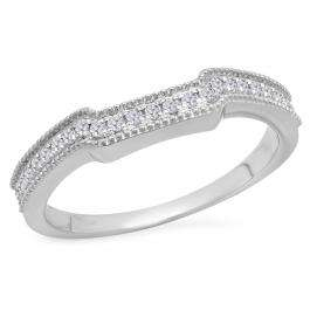 0.25 Carat (Ctw) 18K White Gold Round White Diamond Ladies Anniversary Wedding Stackable Band Guard Ring 1/4 CT
