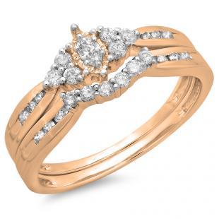 0.55 Carat (ctw) 10K Rose Gold Marquise & Round Cut Diamond Ladies Bridal Engagement Ring With Matching Band Set 1/2 CT