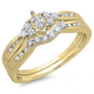 0.55 Carat (ctw) 18K Yellow Gold Marquise & Round Cut Diamond Ladies Bridal Engagement Ring With Matching Band Set 1/2 CT