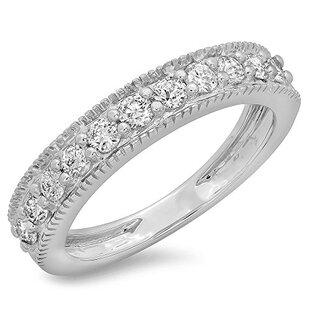 0.50 Carat (ctw) 14K White Gold Round Cut Diamond Ladies Millgrain Anniversary Wedding Stackable Band 1/2 CT