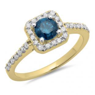 0.90 Carat (ctw) 10K Yellow Gold Round Blue & White Diamond Ladies Bridal Halo Style Engagement Ring