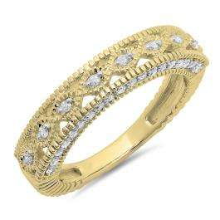 0.40 Carat (ctw) 10K Yellow Gold Round Cut Diamond Ladies Vintage Style Millgrain Anniversary Wedding Stackable Band