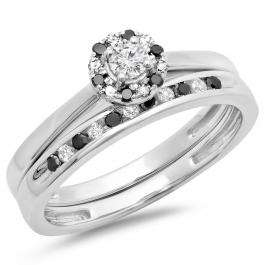 0.40 Carat (ctw) 14K White Gold Round Black & White Diamond Ladies Bridal Halo Engagement Ring With Matching Band Set