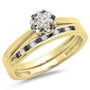 0.40 Carat (ctw) 18K Yellow Gold Round Black & White Diamond Ladies Bridal Halo Engagement Ring With Matching Band Set