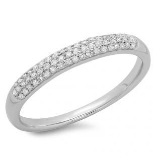 0.15 Carat (ctw) 10k White Gold Round Diamond Ladies Anniversary Wedding Band Ring 1/6 CT