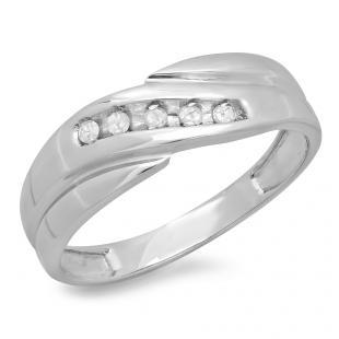 0.12 Carat (ctw) Sterling Silver Round White Real Diamond Men's 5 Stone Wedding Anniversary Band