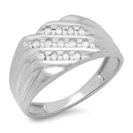 0.22 Carat (ctw) Sterling Silver Round White Real Diamond Men's Wedding Anniversary Ring