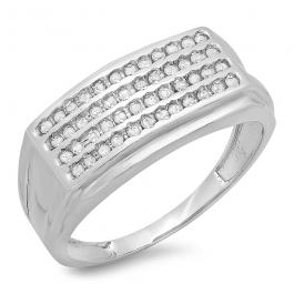 0.48 Carat (ctw) Sterling Silver Round White Diamond Men's Hip Hop Wedding Band