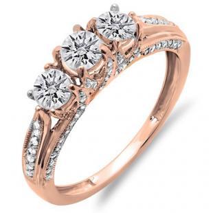 1.00 Carat (ctw) 10K Rose Gold Round Diamond Ladies Vintage Bridal 3 Stone Engagement Ring 1 CT