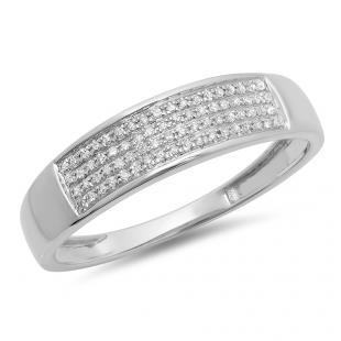 0.15 Carat (ctw) 10K White Gold Round Diamond Men's Hip Hop Wedding Band 1/6 CT