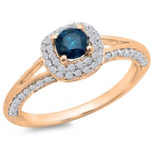 0.90 Carat (ctw) 14K Rose Gold Round Cut Blue & White Diamond Ladies Bridal Split Shank Halo Style Engagement Ring