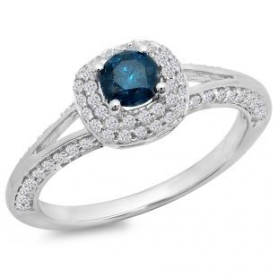 0.90 Carat (ctw) 14K White Gold Round Cut Blue & White Diamond Ladies Bridal Split Shank Halo Style Engagement Ring