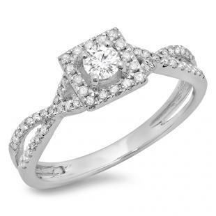 0.50 Carat (ctw) 14K White Gold Round Cut Diamond Ladies Bridal Swirl Split Shank Halo Engagement Ring 1/2 CT