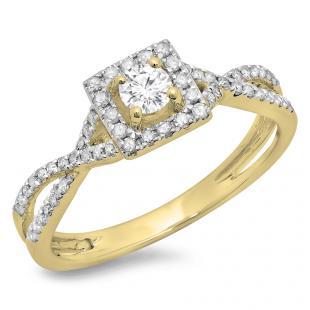0.50 Carat (ctw) 14K Yellow Gold Round Cut Diamond Ladies Bridal Swirl Split Shank Halo Engagement Ring 1/2 CT