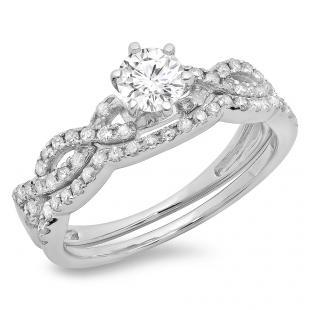 0.90 Carat (ctw) 14K White Gold Round Cut Diamond Ladies Bridal Twisted Swirl Engagement Ring Matching Wedding Band Set