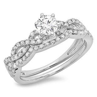 0.90 Carat (ctw) 18K White Gold Round Cut Diamond Ladies Bridal Twisted Swirl Engagement Ring Matching Wedding Band Set