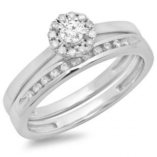 0.33 Carat (ctw) 14K White Gold Round Cut Diamond Ladies Bridal Halo Engagement Ring With Matching Band Set 1/3 CT