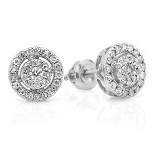 0.40 Carat (ctw) 14K White Gold Real Round Cut White Diamond Ladies Flower Cluster Stud Earrings