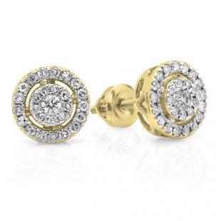 0.40 Carat (ctw) 14K Yellow Gold Real Round Cut White Diamond Ladies Flower Cluster Stud Earrings