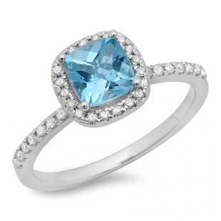 1.50 Carat (ctw) 10K White Gold Cushion Cut Blue Topaz & Round Cut White Diamond Ladies Bridal Halo Style Engagement Ring 1 1/2 CT