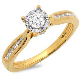 0.40 Carat (ctw) 10K Yellow Gold Round Cut Diamond Ladies Bridal Solitaire With Accents Engagement Ring