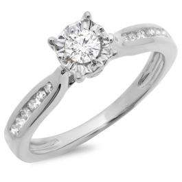 0.40 Carat (ctw) 18K White Gold Round Cut Diamond Ladies Bridal Solitaire With Accents Engagement Ring