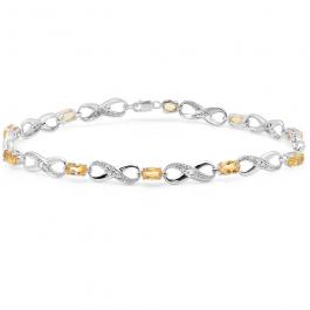 2.27 Carat (ctw) Sterling Silver Real Oval Cut Citrine & Round Cut White Diamond Ladies Infinity Link Tennis Bracelet