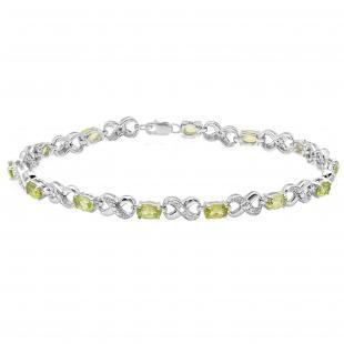 3.18 Carat (ctw) Sterling Silver Real Oval Cut Peridot & Round Cut White Diamond Ladies Infinity Link Tennis Bracelet