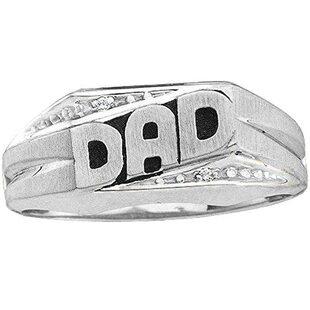 0.02 Carat (ctw) 18K White Gold Round Cut Diamond Men's DAD Ring