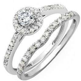 0.60 Carat (ctw) 10K White Gold Round Diamond Ladies Bridal Halo Engagement Ring With Matching Band Set