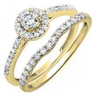 0.60 Carat (ctw) 10K Yellow Gold Round Diamond Ladies Bridal Halo Engagement Ring With Matching Band Set