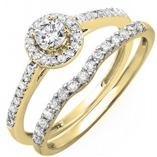 0.60 Carat (ctw) 14K Yellow Gold Round Diamond Ladies Bridal Halo Engagement Ring With Matching Band Set