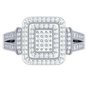 0.33 Carat (ctw) Sterling Silver Round Cut Diamond Ladies Bridal Split Shank Engagement Promise Ring 1/3 CT