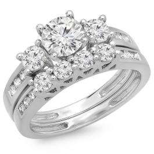 1.80 Carat (ctw) 14K White Gold Round Diamond Ladies Bridal 3 Stone Engagement Ring With Matching Band Set