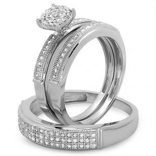 0.50 Carat (ctw) Sterling Silver Round Cut Diamond Men & Women's Micro Pave Engagement Ring Trio Bridal Set 1/2 CT